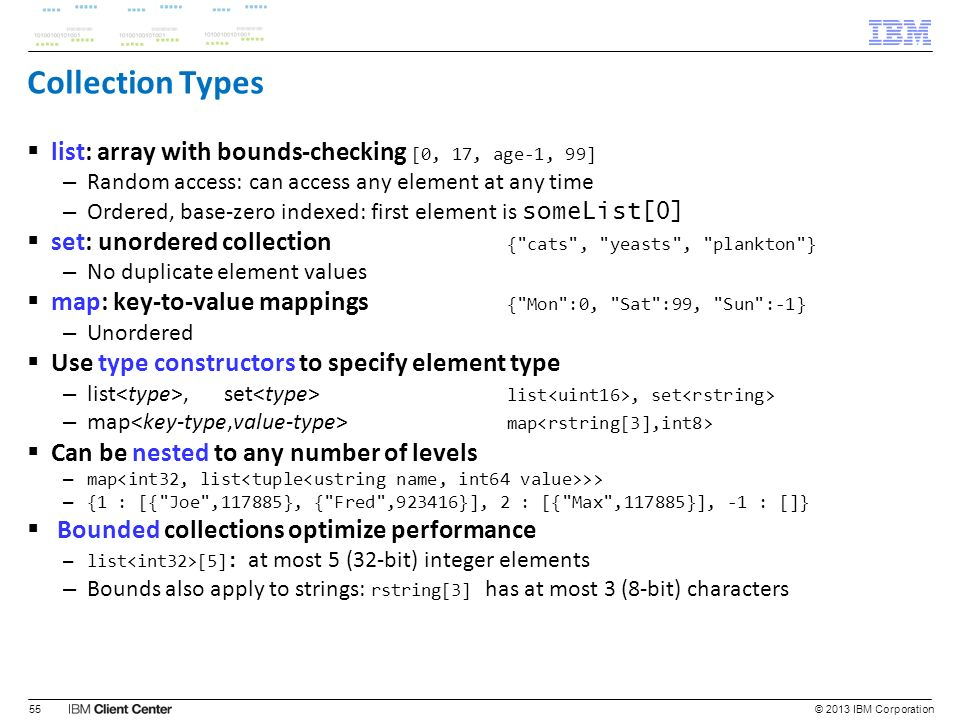 Collection Types list: array with bounds-checking [0, 17, age-1, 99]